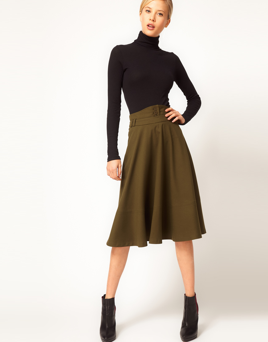 Asos collection Asos Midi Skirt with Waist Detail in Green | Lyst