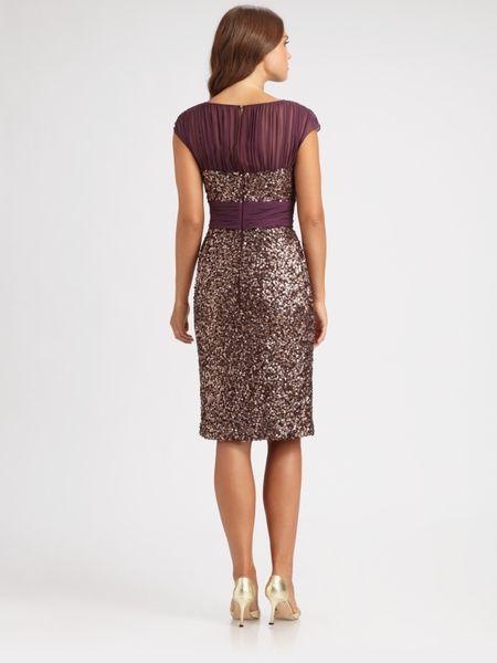 Badgley Mischka Sequined Dress In Purple Plum Lyst