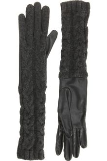 Barneys New York Cashmere Cable Knit Gloves - Lyst