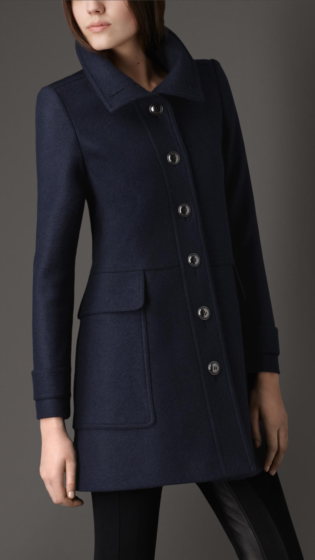 Burberry Tailored Wool Coat in Blue | Lyst