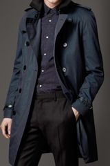 Burberry Midlength Cotton Gabardine Leather Trim Trench Coat - Lyst