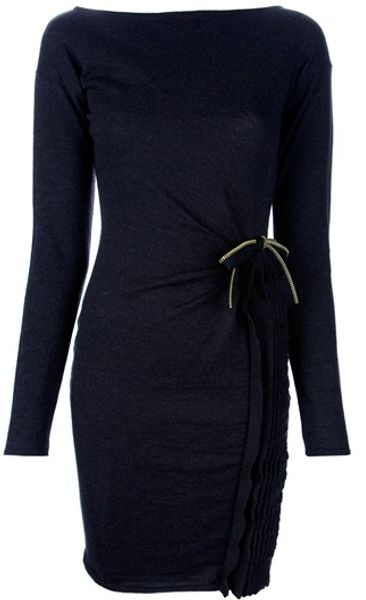 Class Roberto Cavalli Ruffle Detail Dress in Black - Lyst