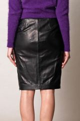 Diane Von Furstenberg Clover Leather Skirt in Black (clover) - Lyst