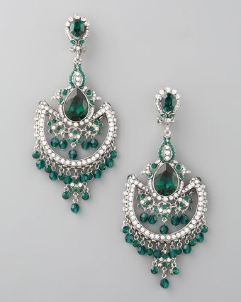 Jose & Maria Barrera Green White Crystal Chandelier Earrings - Lyst