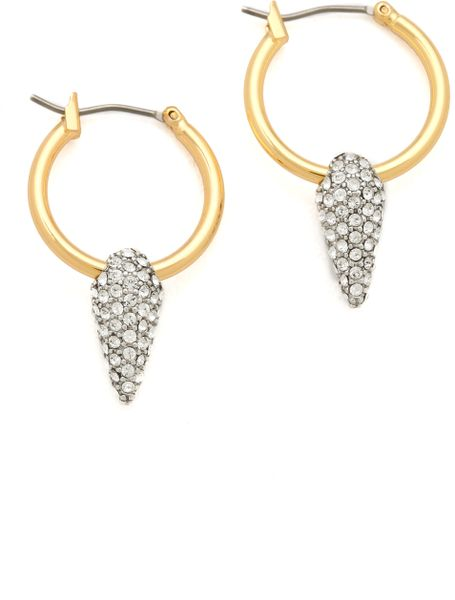 juicy couture pave spike hoop earrings in gold lyst. Black Bedroom Furniture Sets. Home Design Ideas