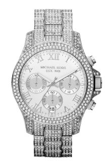 Michael Kors Midsize Silver Color Stainless Steel Layton Chronograph Glitz Watch - Lyst
