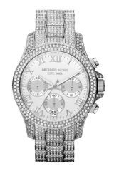 Michael Kors Midsize Silver Color Stainless Steel Layton Chronograph Glitz Watch