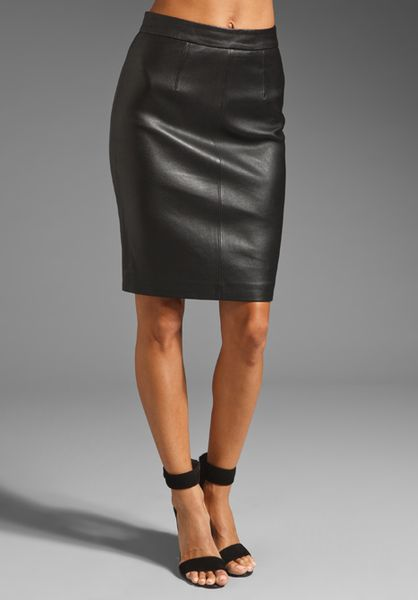 milly stretch leather edith pencil skirt in black lyst