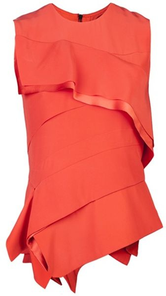 Narciso Rodriguez Ruffle Blouse in Orange - Lyst