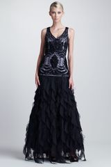 Sue Wong Embroidered Ruffled Gown - Lyst