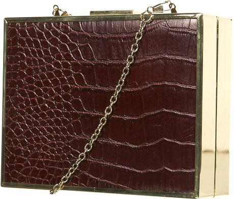 Topshop Croc Frame Crossbody Bag in Red (burgundy) - Lyst