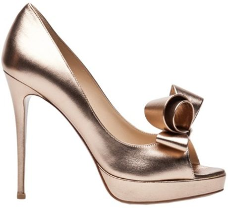 Valentino Metallic Couture Bow Pump in Gold - Lyst