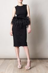 Alexander Mcqueen Feather trimmed Top in Black - Lyst