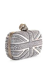 Alexander Mcqueen Studded Union Jack Clutch in Gray (grey) - Lyst