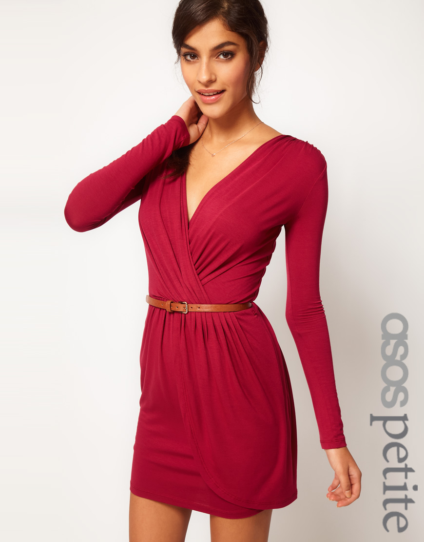d55462bca26 ASOS Wrap Dress with Long Sleeves and Belt in Red - Lyst