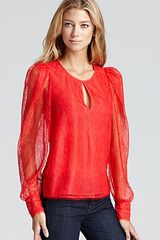 BCBGMAXAZRIA Blouse Lace Blouse with Front Keyhole - Lyst