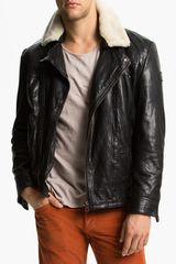 Boss Orange Janulrik Leather Moto Jacket - Lyst