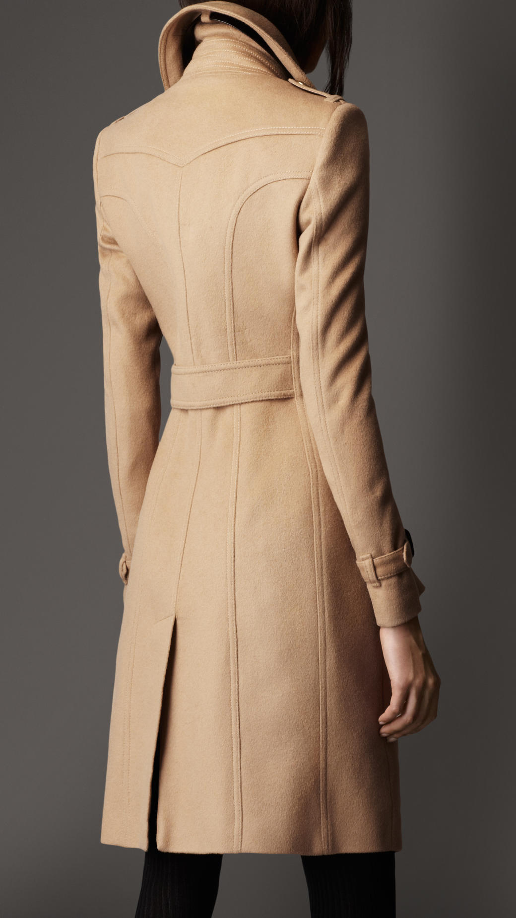 Burberry Leather Detail Wool Cashmere Coat in Natural - Lyst