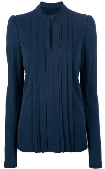 Burberry Long Sleeve Key Hole Blouse - Lyst