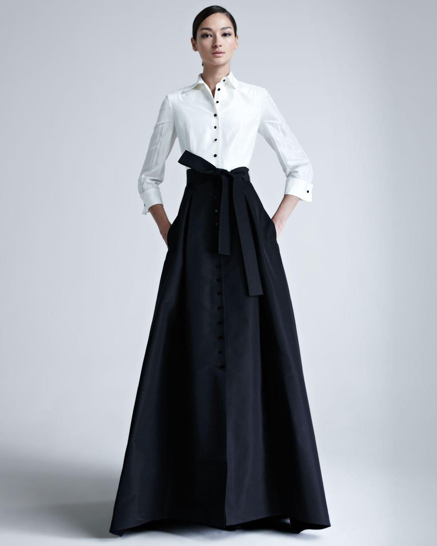 Lyst - Carolina Herrera Shirtwaist Taffeta Ball Gown in Black