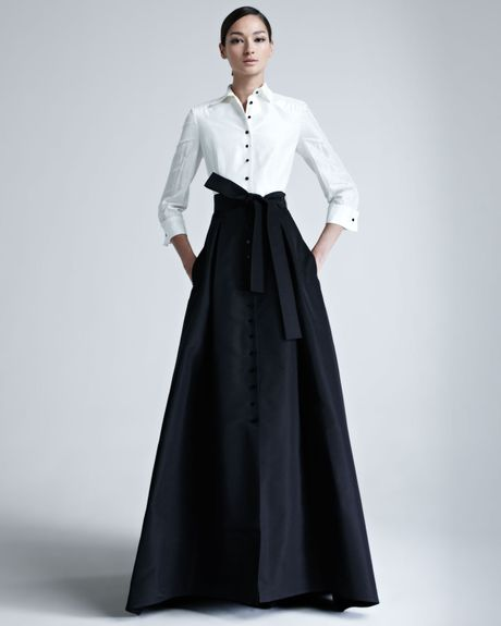 Carolina Herrera Taffeta Gown in Black (ivory black) - Lyst