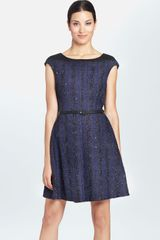 Cynthia Steffe Greta Belted Bouclé Fit Flare Dress - Lyst