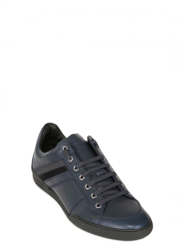 Lyst Dior Homme Side Striped Leather Sneakers In Blue