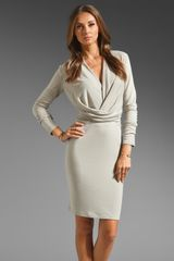 Halston Heritage Long Sleeve V Neck Draped Front Jersey Dress - Lyst
