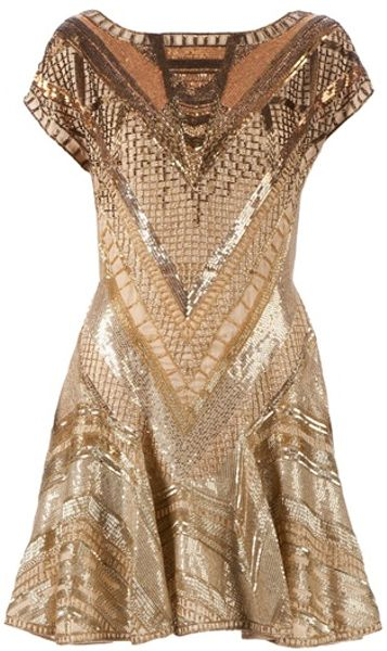 Matthew Williamson Embellished Dress in Gold - Lyst