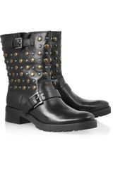Michael by Michael Kors Studded Leather Biker Boots - Lyst