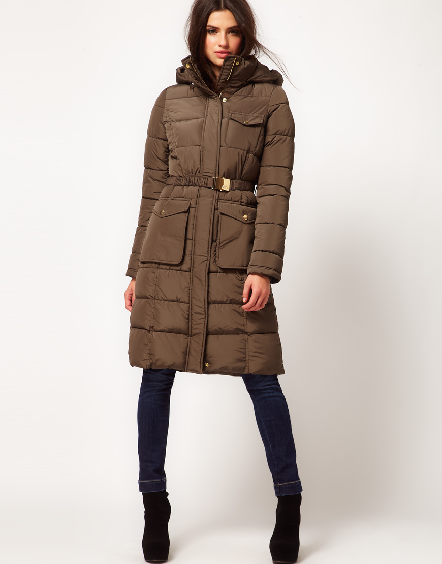 Miss sixty Long Padded Jacket with Belt in Brown | Lyst