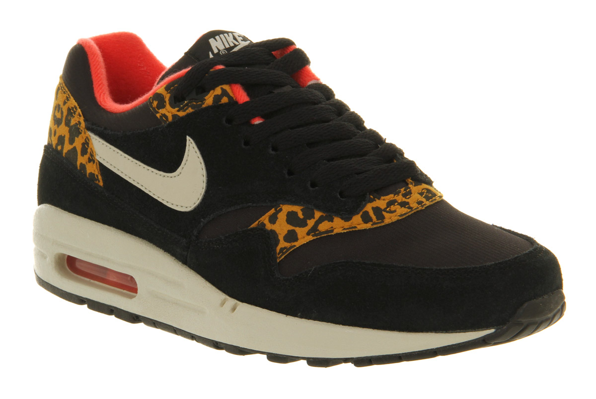 new product 10762 dc435 Nike Air Max 1 Mens Leopard Pack Black