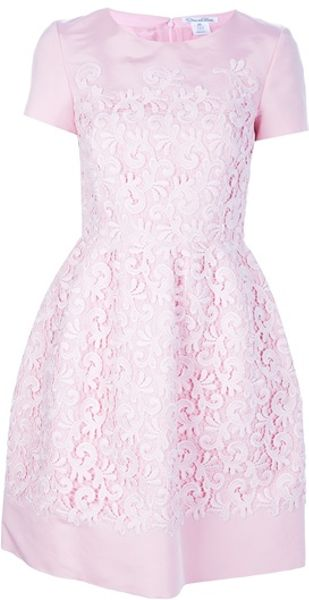 Oscar de la Renta Flared Lace Overlay Dress - Lyst