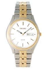 Seiko Solar Gents Bracelet Watch Sne032p1 in Silver for Men (gold) - Lyst