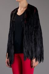 Tim Ryan Black Fringe Cape in Black - Lyst