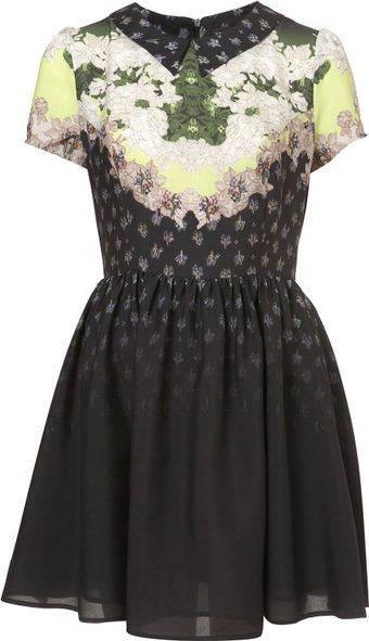 Topshop Neon Lace Print Flippy Dress - Lyst