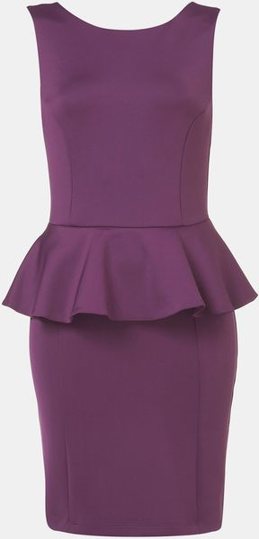 Topshop Peplum Dress in Purple - Lyst