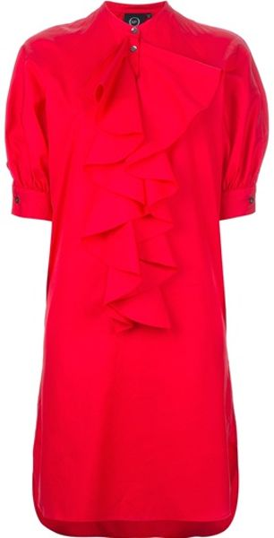 Alexander Mcqueen Ruffled Dress in Red - Lyst