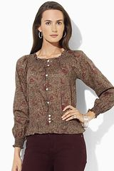 Ralph Lauren Long Sleeve Peasant Top - Lyst