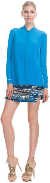 Matthew Williamson Silk Crepe Nehru Shirt in Blue
