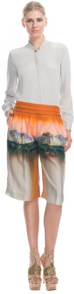 Matthew Williamson Landscape Washed Silk Culottes in Orange (spice) - Lyst