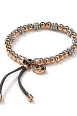 Michael Kors Pavé Beaded Leather Bracelet - Lyst