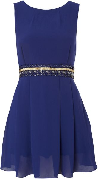 Tfnc Embellished Waist Sleeve Dress in Blue (navy) - Lyst
