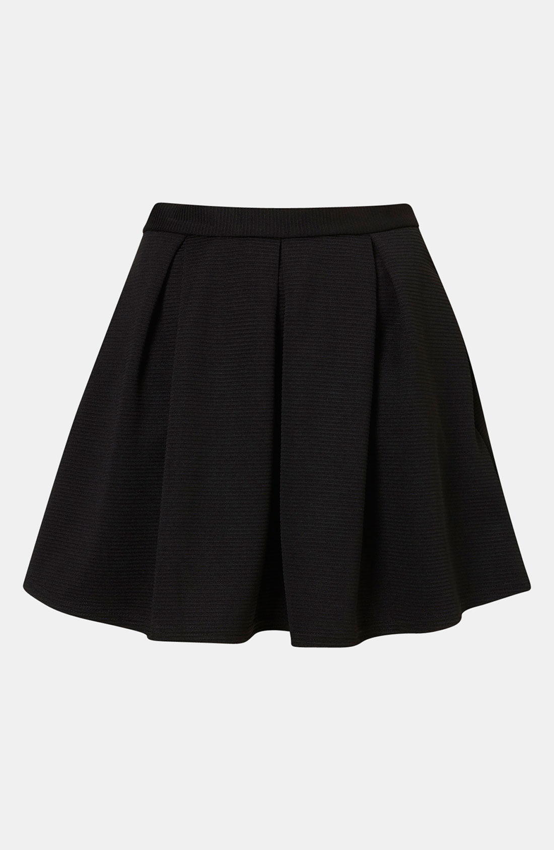 topshop pleated ribbed skater skirt in black lyst
