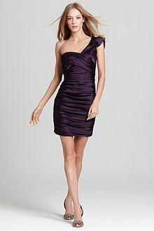 Vera Wang Lavender Dress One Shoulder Stretch Satin - Lyst