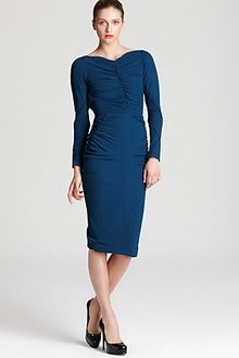 Zac Posen Crepe Dress Long Sleeve with Ruching - Lyst