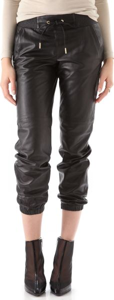 Juicy Couture Leather Track Pants in Black