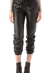 Juicy Couture Leather Track Pants in Black - Lyst