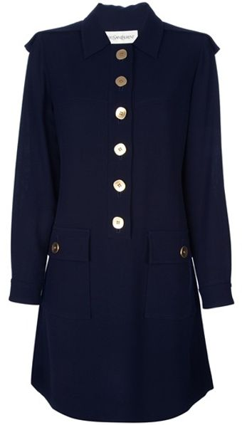 Yves Saint Laurent Vintage Military Dress - Lyst