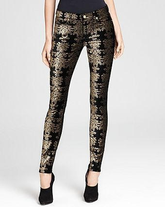 7 For All Mankind Jeans Brocade Foil Print Velvet Skinny - Lyst